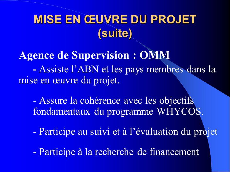MISE EN ŒUVRE DU PROJET (suite) Agence de Supervision : OMM - Assiste lABN et les pays membres dans la mise en œuvre du projet.