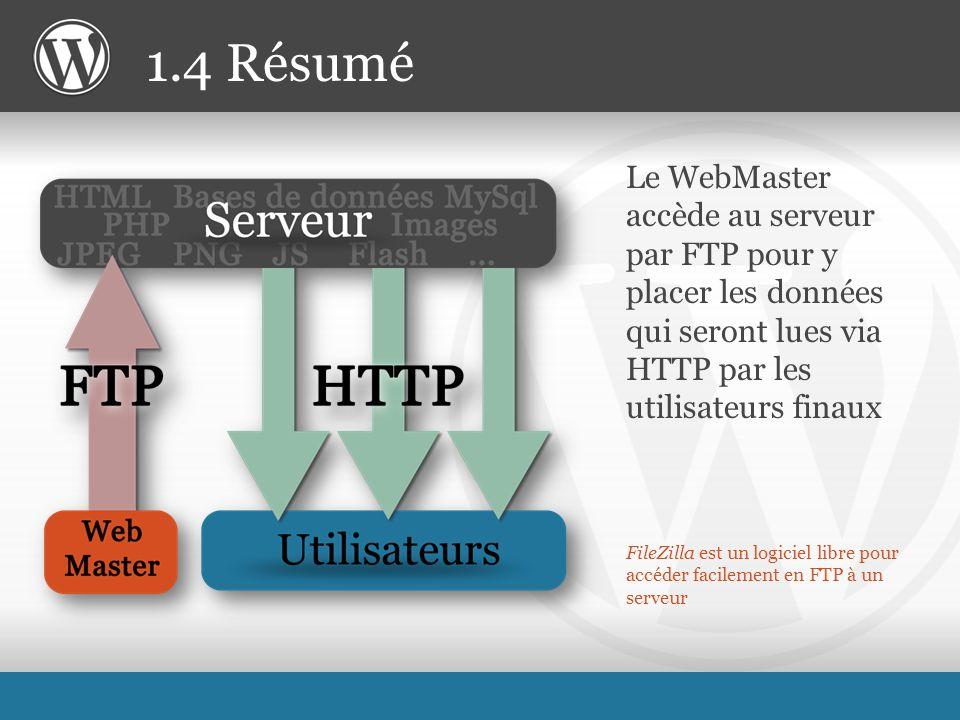 FileZilla est un logiciel libre pour accéder facilement en FTP à un serveur Le WebMaster accède au serveur par FTP pour y placer les données qui seront lues via HTTP par les utilisateurs finaux 1.4 Résumé