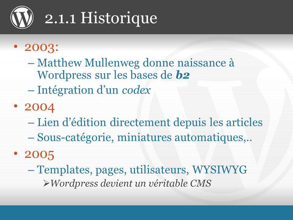 2003: – Matthew Mullenweg donne naissance à Wordpress sur les bases de b2 – Intégration dun codex 2004 – Lien dédition directement depuis les articles – Sous-catégorie, miniatures automatiques,..