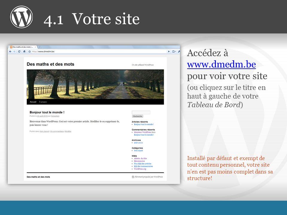 Installé par défaut et exempt de tout contenu personnel, votre site nen est pas moins complet dans sa structure.