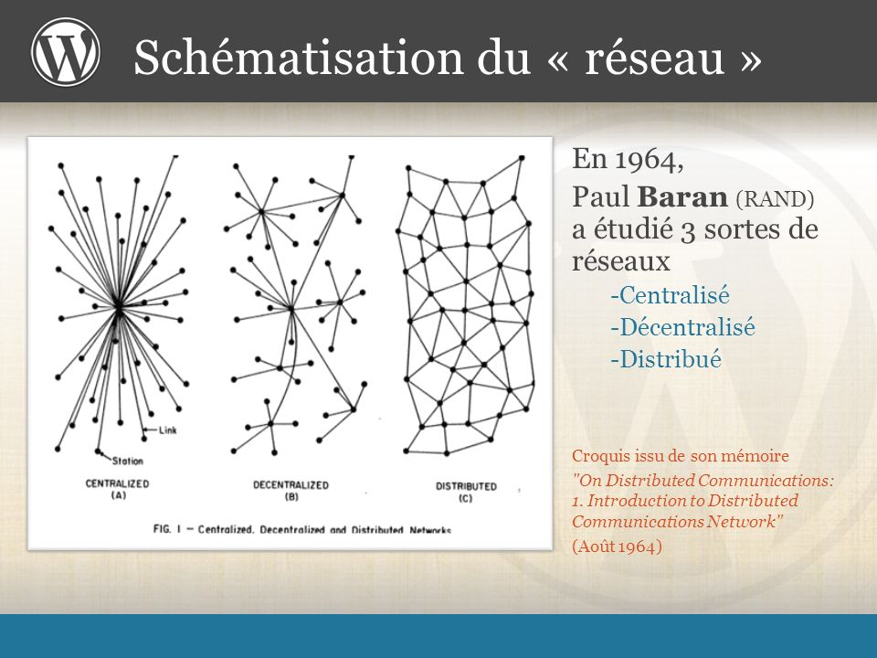 Croquis issu de son mémoire On Distributed Communications: 1.