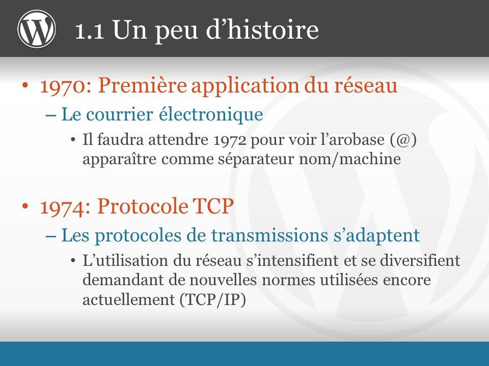 1970: Première application du réseau – Le courrier électronique Il faudra attendre 1972 pour voir larobase (@) apparaître comme séparateur nom/machine 1974: Protocole TCP – Les protocoles de transmissions sadaptent Lutilisation du réseau sintensifient et se diversifient demandant de nouvelles normes utilisées encore actuellement (TCP/IP) 1.1 Un peu dhistoire