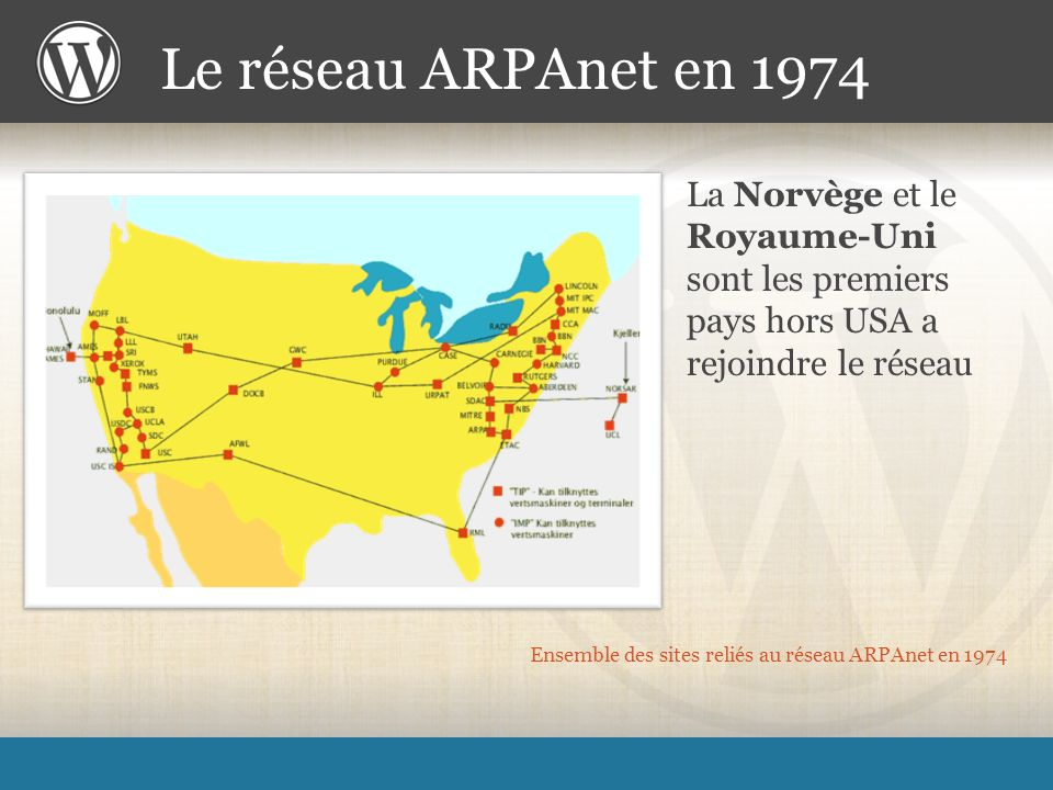 Ensemble des sites reliés au réseau ARPAnet en 1974 La Norvège et le Royaume-Uni sont les premiers pays hors USA a rejoindre le réseau Le réseau ARPAnet en 1974