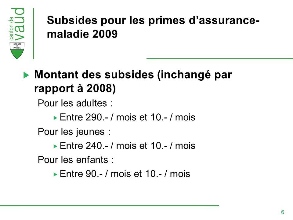 6 Subsides pour les primes dassurance- maladie 2009 Montant des subsides (inchangé par rapport à 2008) Pour les adultes : Entre 290.- / mois et 10.- / mois Pour les jeunes : Entre 240.- / mois et 10.- / mois Pour les enfants : Entre 90.- / mois et 10.- / mois