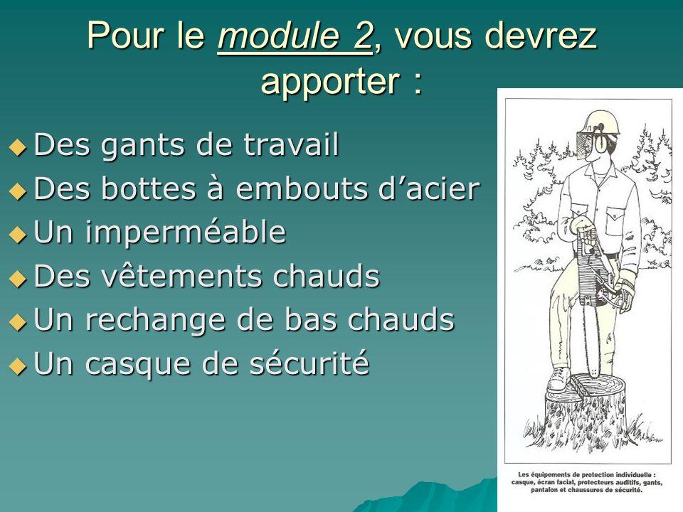 Pour le module 2, vous devrez apporter : Des gants de travail Des gants de travail Des bottes à embouts dacier Des bottes à embouts dacier Un imperméa