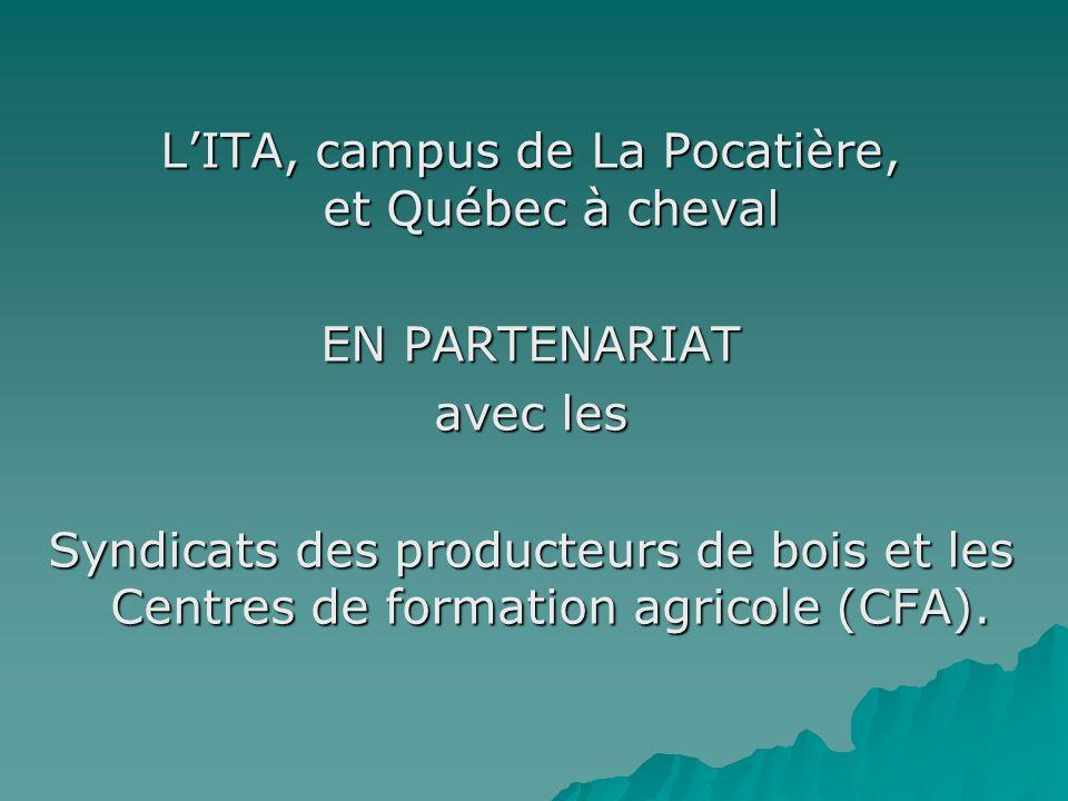 LITA, campus de La Pocatière, et Québec à cheval EN PARTENARIAT avec les Syndicats des producteurs de bois et les Centres de formation agricole (CFA).