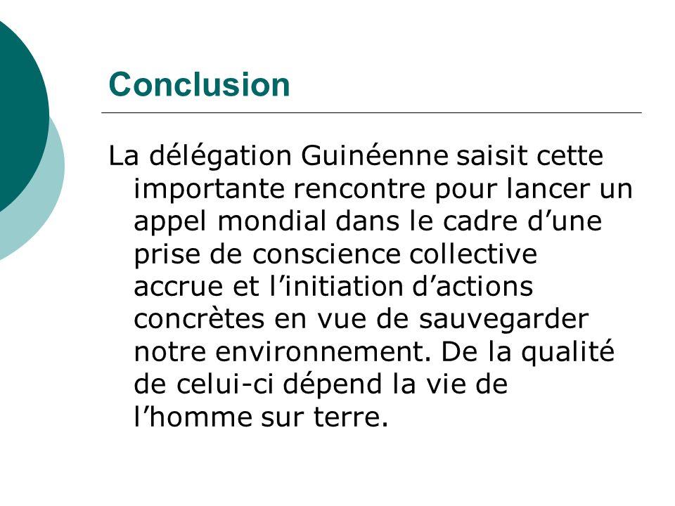 Conclusion La délégation Guinéenne saisit cette importante rencontre pour lancer un appel mondial dans le cadre dune prise de conscience collective accrue et linitiation dactions concrètes en vue de sauvegarder notre environnement.