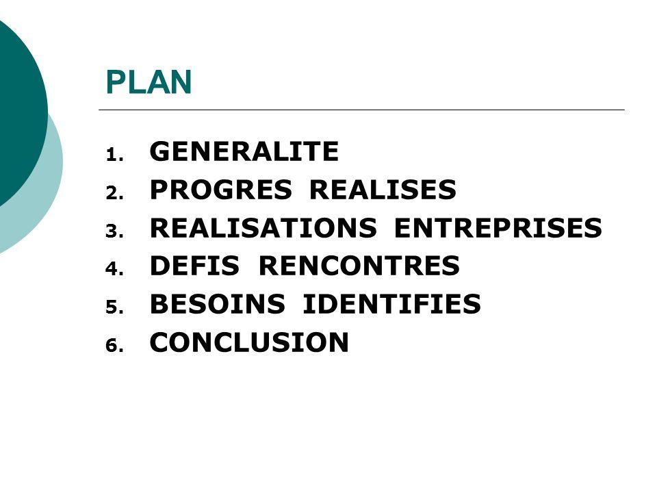 PLAN 1. GENERALITE 2. PROGRES REALISES 3. REALISATIONS ENTREPRISES 4.