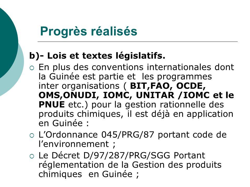 Progrès réalisés b)- Lois et textes législatifs.