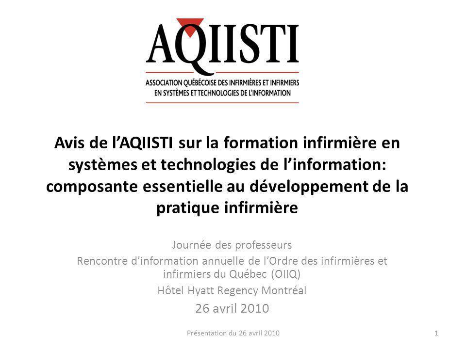 But de lAQIISTI Promouvoir lutilisation judicieuse des systèmes et technologies de linformation et dassurer un leadership infirmier dans ce domaine 2Présentation du 26 avril 2010