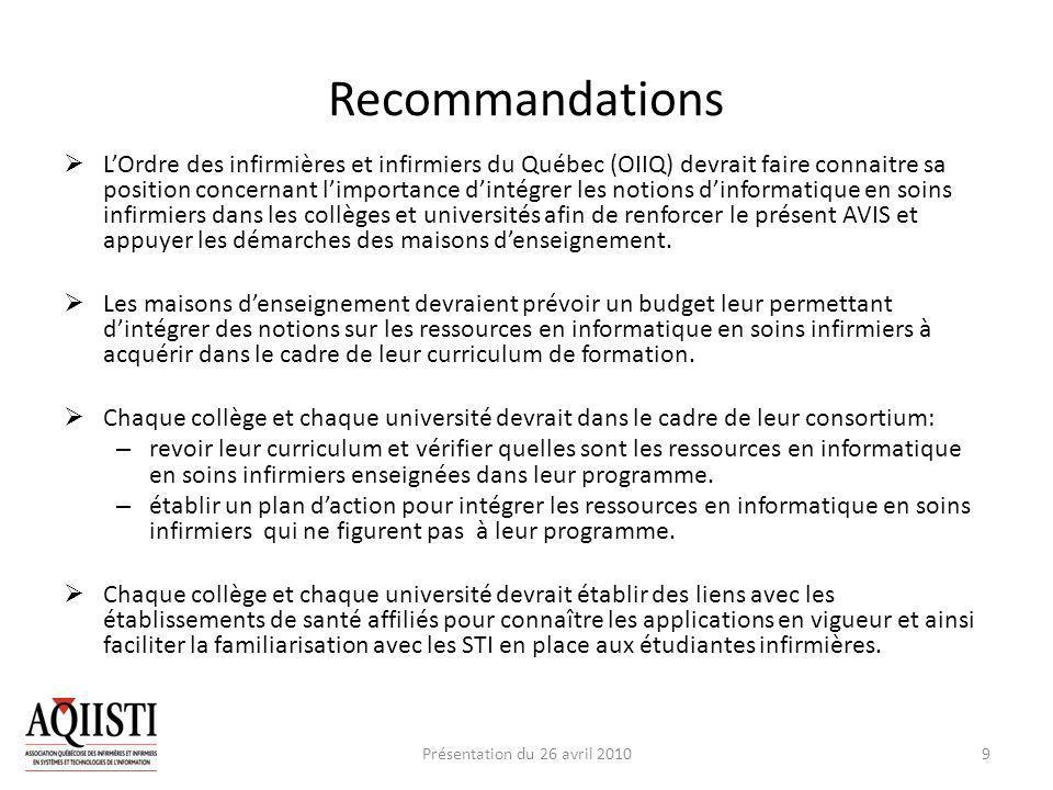 Recommandations LOrdre des infirmières et infirmiers du Québec (OIIQ) devrait faire connaitre sa position concernant limportance dintégrer les notions dinformatique en soins infirmiers dans les collèges et universités afin de renforcer le présent AVIS et appuyer les démarches des maisons denseignement.