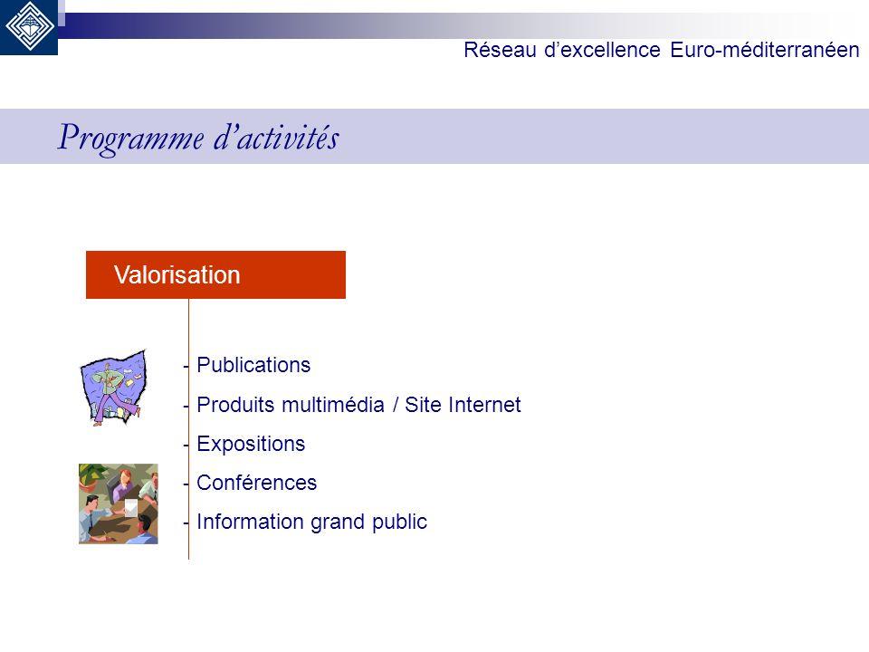 Réseau dexcellence Euro-méditerranéen Valorisation - Publications - Produits multimédia / Site Internet - Expositions - Conférences - Information gran