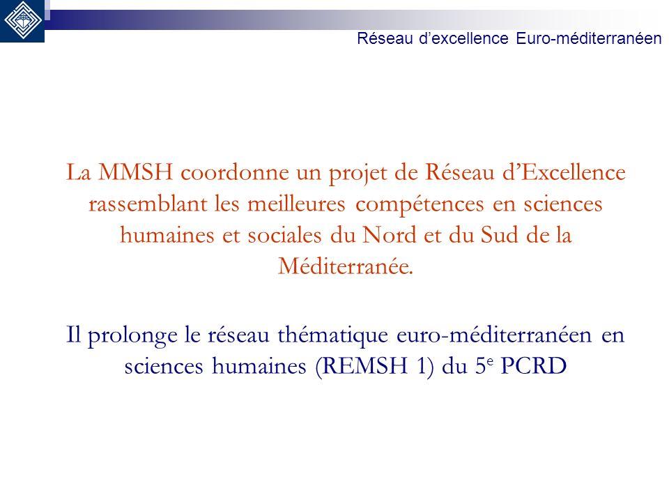 La MMSH coordonne un projet de Réseau dExcellence rassemblant les meilleures compétences en sciences humaines et sociales du Nord et du Sud de la Médi