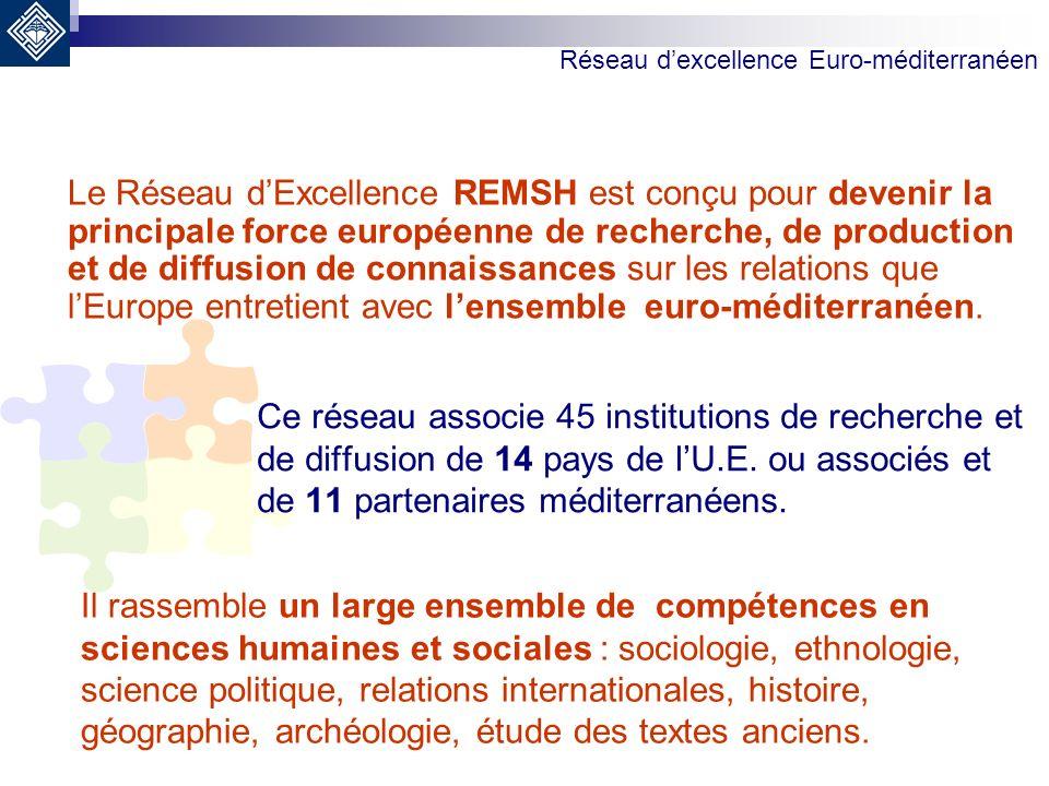 Le Réseau dExcellence REMSH est conçu pour devenir la principale force européenne de recherche, de production et de diffusion de connaissances sur les relations que lEurope entretient avec lensemble euro-méditerranéen.