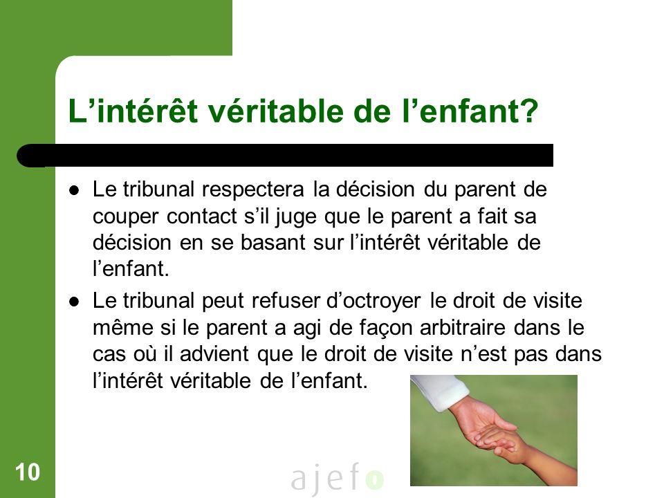 10 Lintérêt véritable de lenfant? Le tribunal respectera la décision du parent de couper contact sil juge que le parent a fait sa décision en se basan
