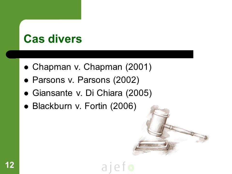 12 Cas divers Chapman v. Chapman (2001) Parsons v. Parsons (2002) Giansante v. Di Chiara (2005) Blackburn v. Fortin (2006)