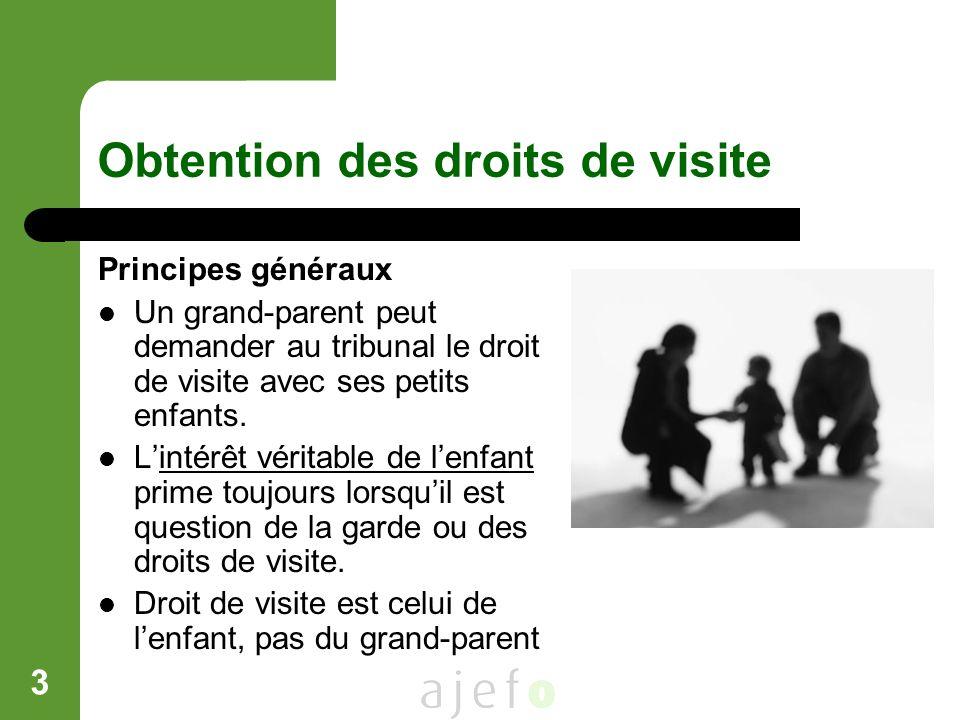 3 Obtention des droits de visite Principes généraux Un grand-parent peut demander au tribunal le droit de visite avec ses petits enfants. Lintérêt vér