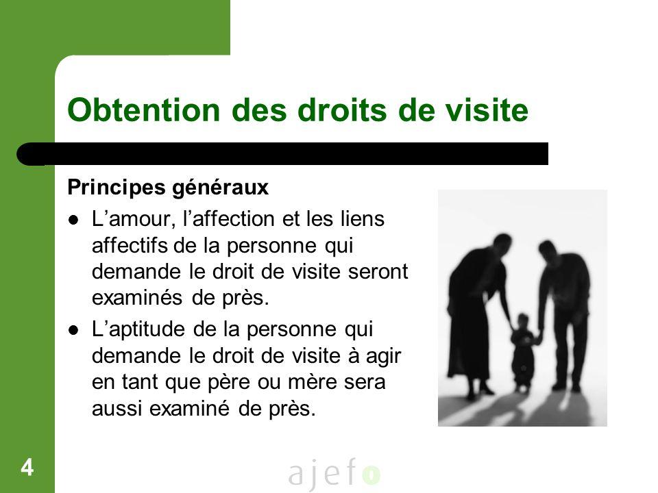 4 Obtention des droits de visite Principes généraux Lamour, laffection et les liens affectifs de la personne qui demande le droit de visite seront exa