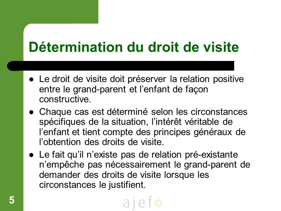 5 Détermination du droit de visite Le droit de visite doit préserver la relation positive entre le grand-parent et lenfant de façon constructive. Chaq
