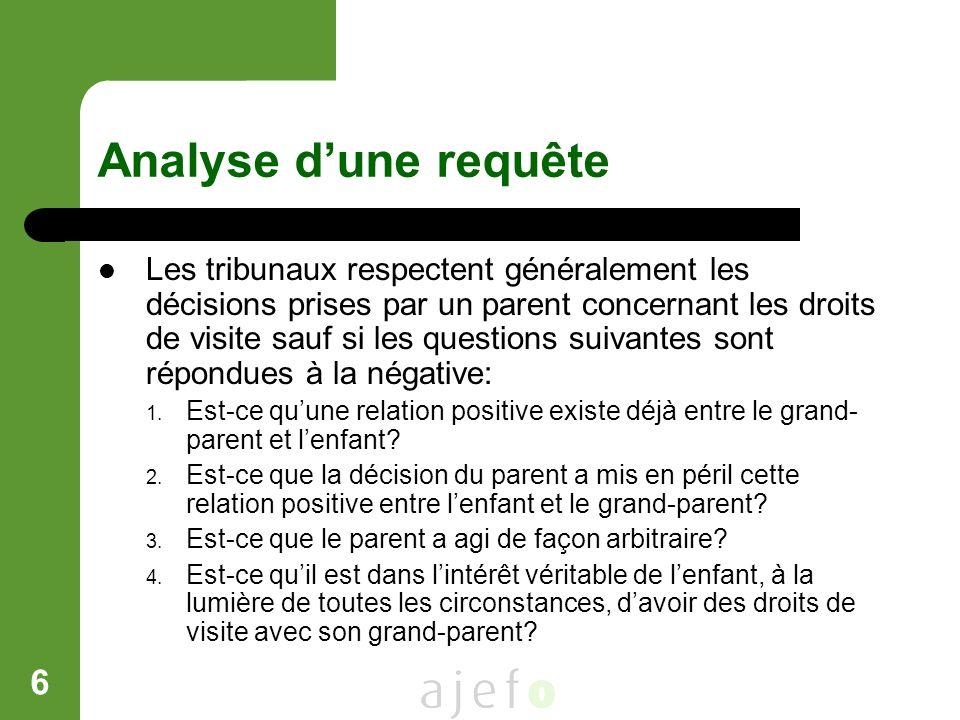 6 Analyse dune requête Les tribunaux respectent généralement les décisions prises par un parent concernant les droits de visite sauf si les questions