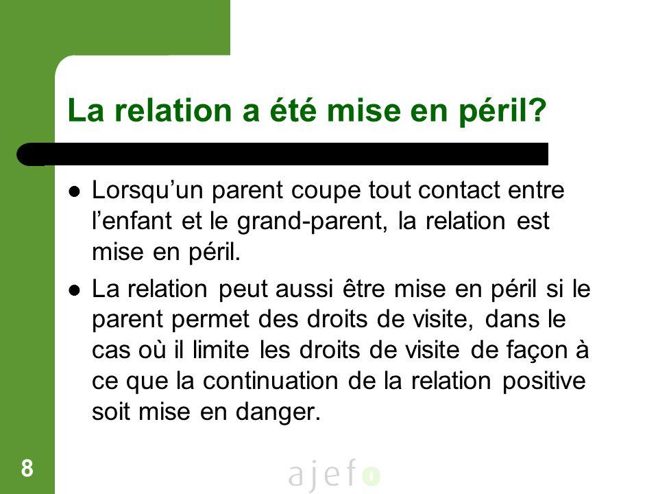 8 La relation a été mise en péril? Lorsquun parent coupe tout contact entre lenfant et le grand-parent, la relation est mise en péril. La relation peu