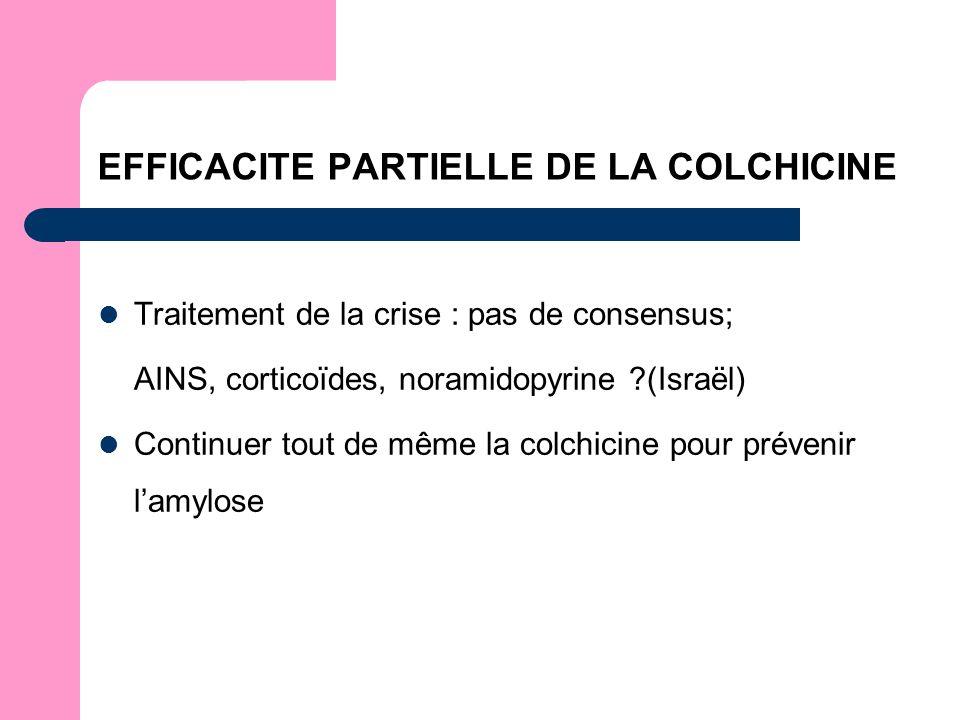 EFFICACITE PARTIELLE DE LA COLCHICINE Traitement de la crise : pas de consensus; AINS, corticoïdes, noramidopyrine (Israël) Continuer tout de même la colchicine pour prévenir lamylose