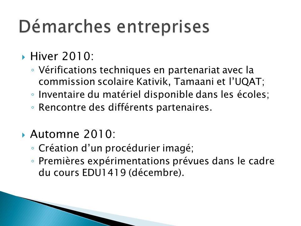 Hiver 2010: Vérifications techniques en partenariat avec la commission scolaire Kativik, Tamaani et lUQAT; Inventaire du matériel disponible dans les écoles; Rencontre des différents partenaires.