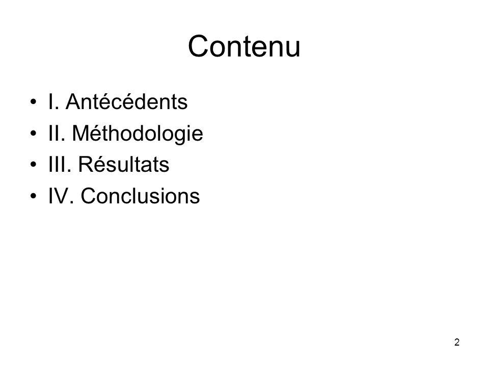 2 Contenu I. Antécédents II. Méthodologie III. Résultats IV. Conclusions