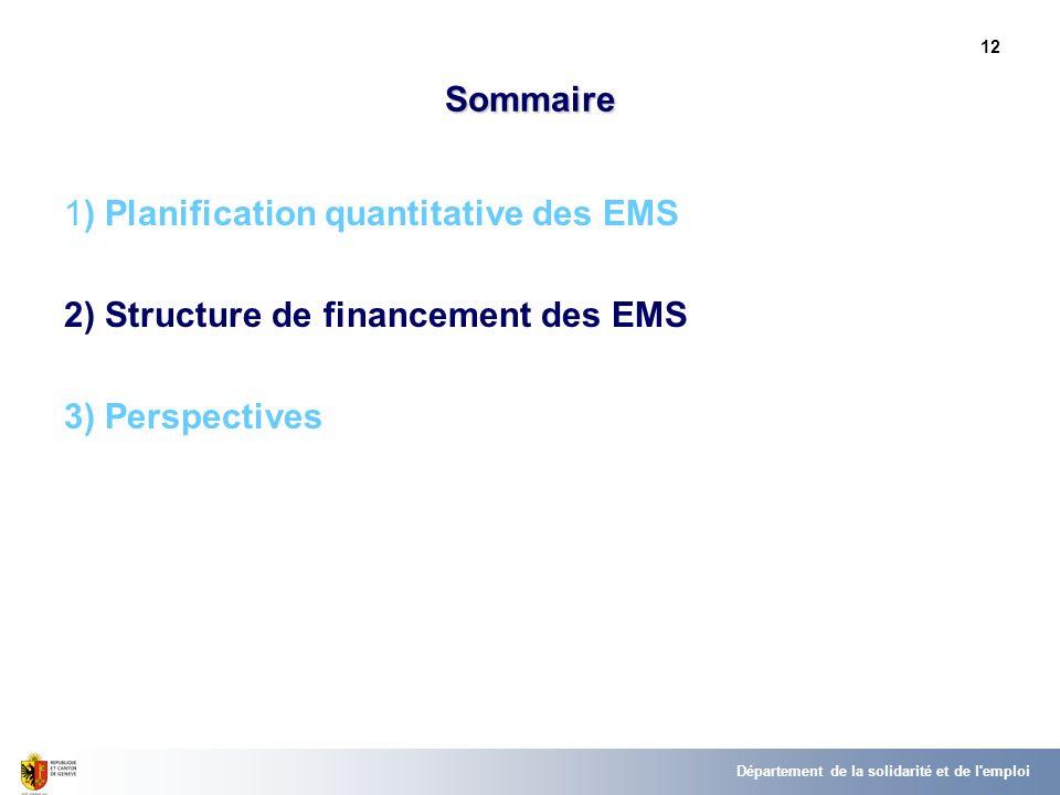 12 Sommaire 1) Planification quantitative des EMS 2) Structure de financement des EMS 3) Perspectives Département de la solidarité et de l'emploi