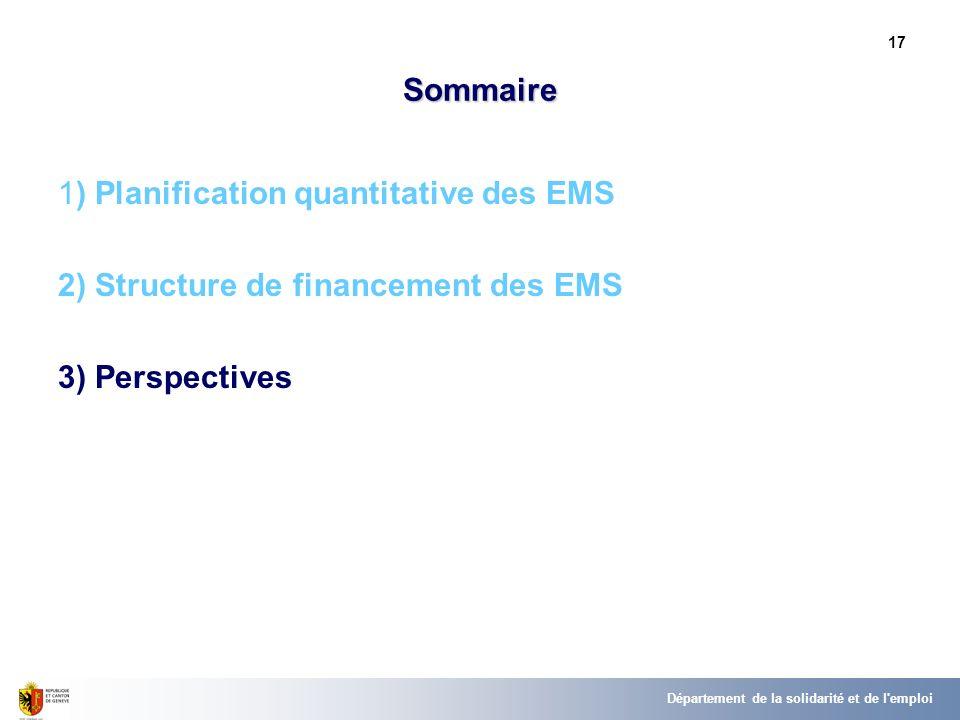 17 Sommaire 1) Planification quantitative des EMS 2) Structure de financement des EMS 3) Perspectives Département de la solidarité et de l emploi