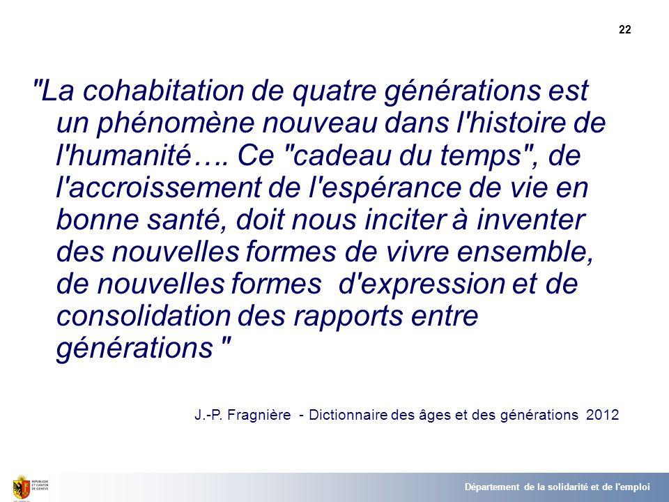 22 La cohabitation de quatre générations est un phénomène nouveau dans l histoire de l humanité….
