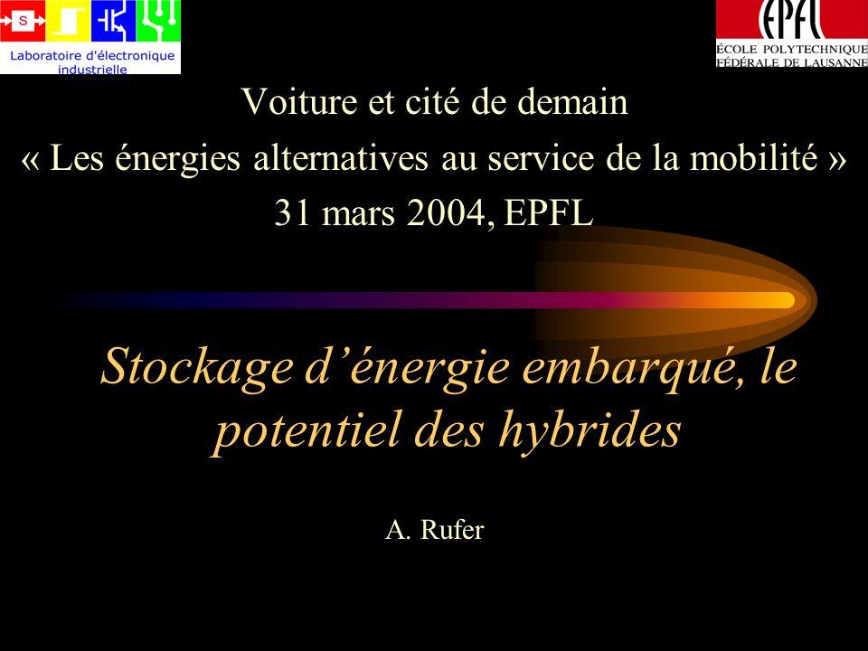 Dimensionnement du stockeur dénergie (parcours Vidy-Gare) « Excursion » totale en énergie: 173 kJ Utilisation de 29 supercondensateurs de 2600 F / 2.5V