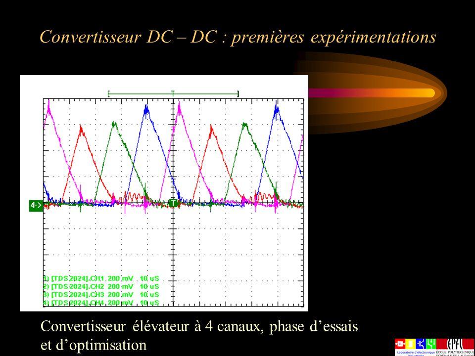 Convertisseur DC – DC : premières expérimentations Convertisseur élévateur à 4 canaux, phase dessais et doptimisation
