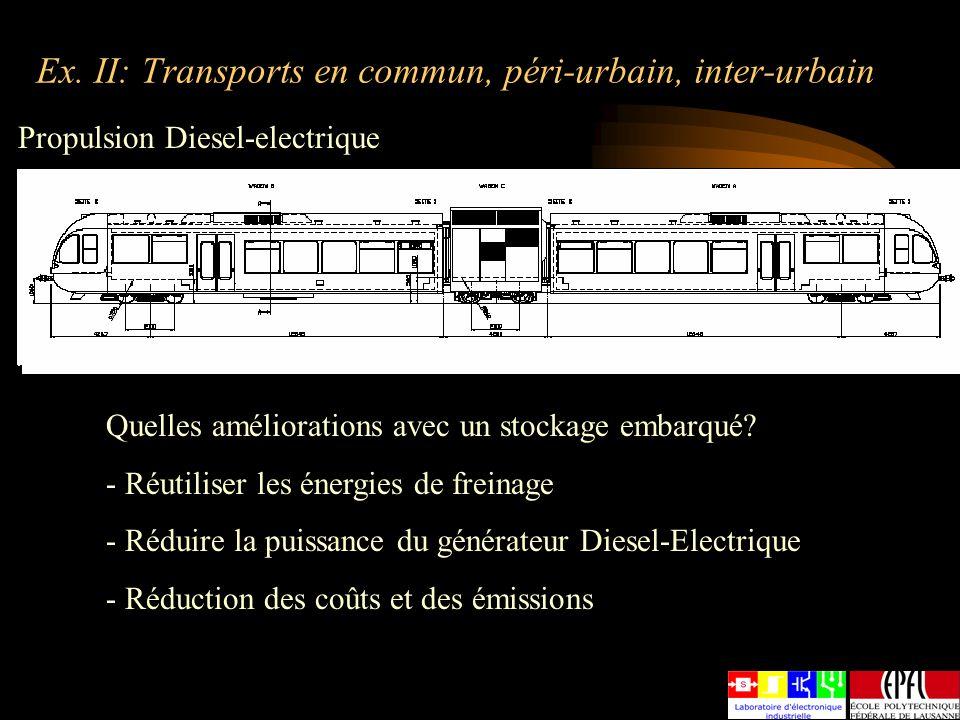 Ex. II: Transports en commun, péri-urbain, inter-urbain Propulsion Diesel-electrique Quelles améliorations avec un stockage embarqué? - Réutiliser les