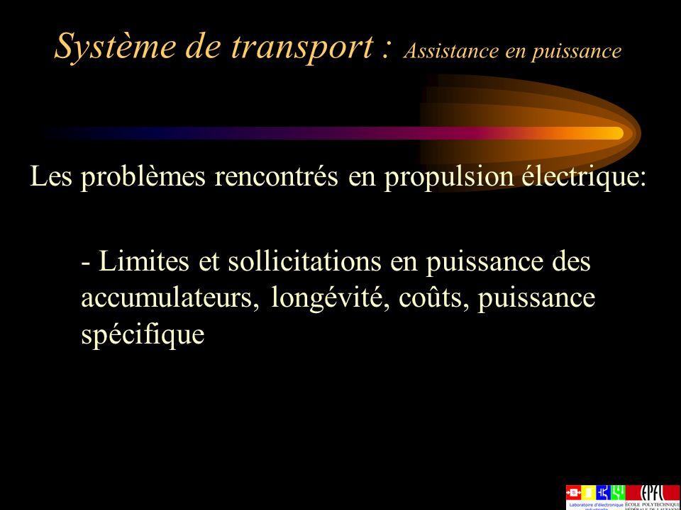 Système de transport : Assistance en puissance Les problèmes rencontrés en propulsion électrique: - Limites et sollicitations en puissance des accumul