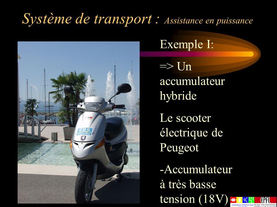 Système de transport : Assistance en puissance Exemple I: => Un accumulateur hybride Le scooter électrique de Peugeot -Accumulateur à très basse tensi