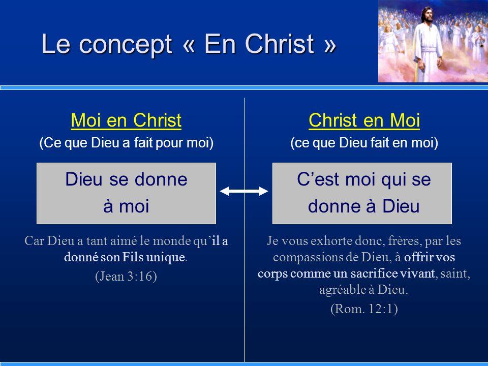 Moi en Christ (Ce que Dieu a fait pour moi) Dieu se donne à moi Car Dieu a tant aimé le monde quil a donné son Fils unique. (Jean 3:16) Le concept « E