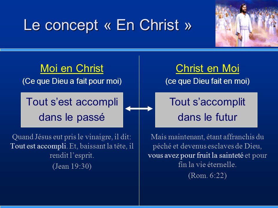 Moi en Christ (Ce que Dieu a fait pour moi) Tout sest accompli dans le passé Quand Jésus eut pris le vinaigre, il dit: Tout est accompli. Et, baissant