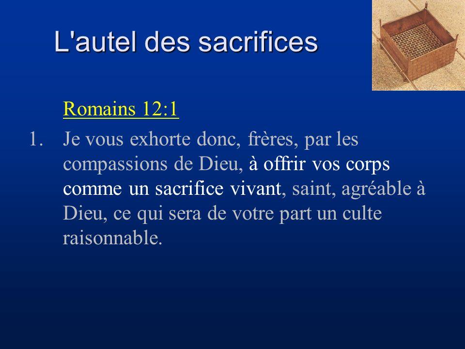 L'autel des sacrifices Romains 12:1 1.Je vous exhorte donc, frères, par les compassions de Dieu, à offrir vos corps comme un sacrifice vivant, saint,