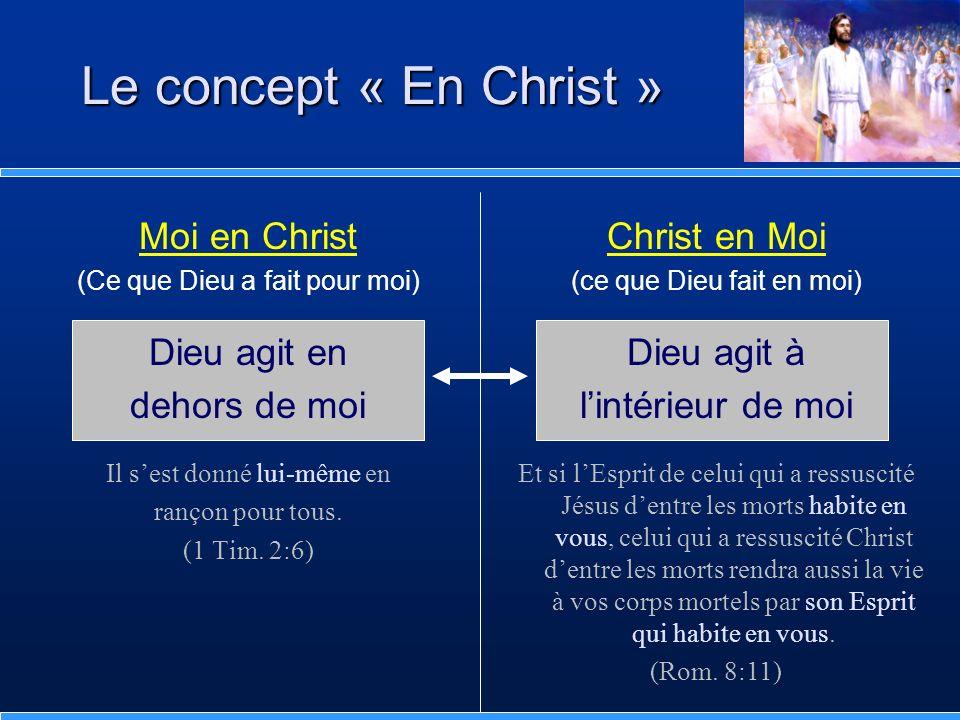 Moi en Christ (Ce que Dieu a fait pour moi) Dieu agit en dehors de moi Il sest donné lui-même en rançon pour tous. (1 Tim. 2:6) Le concept « En Christ