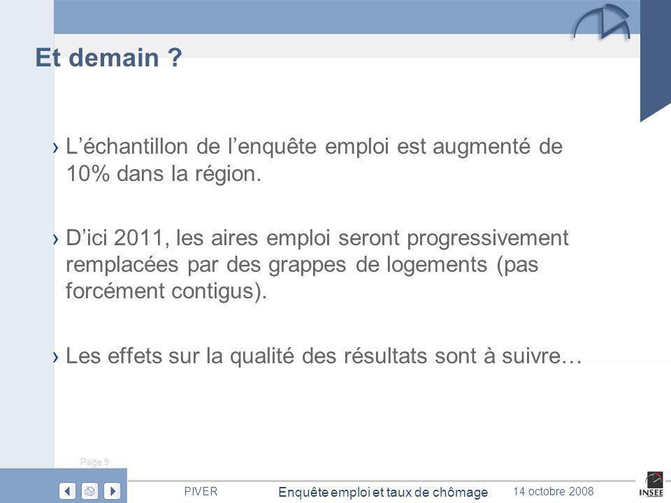 Page 9 Enquête emploi et taux de chômage PIVER14 octobre 2008 Et demain .