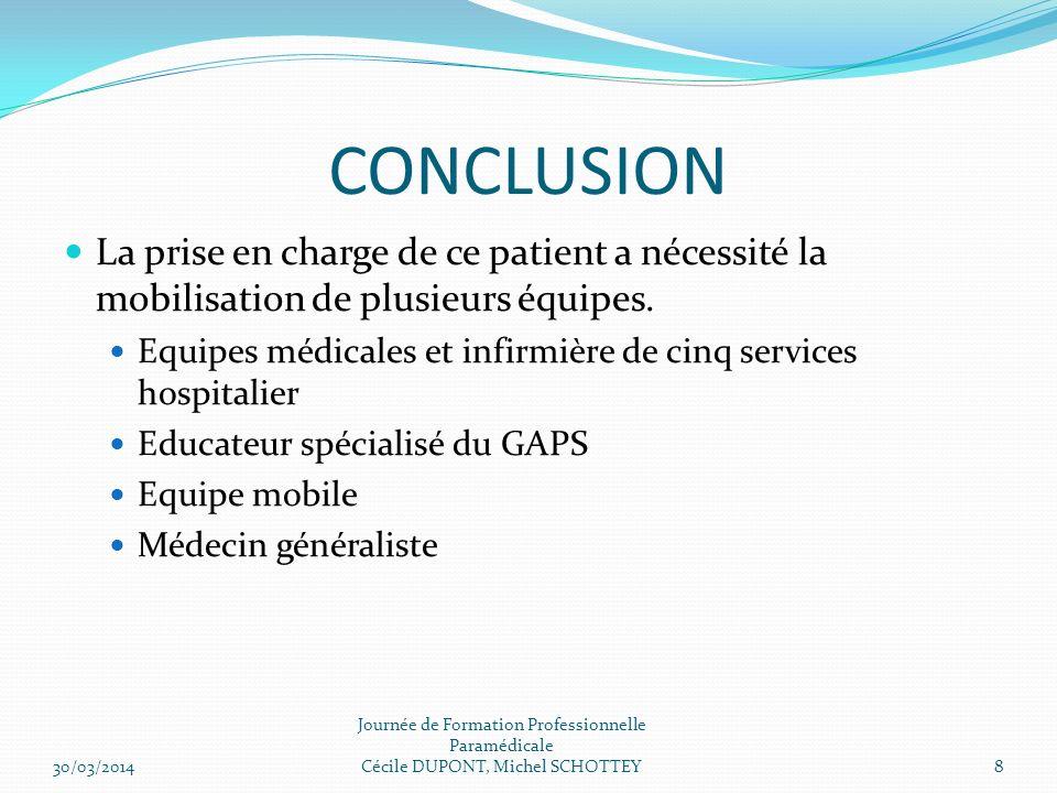 CONCLUSION La prise en charge de ce patient a nécessité la mobilisation de plusieurs équipes.