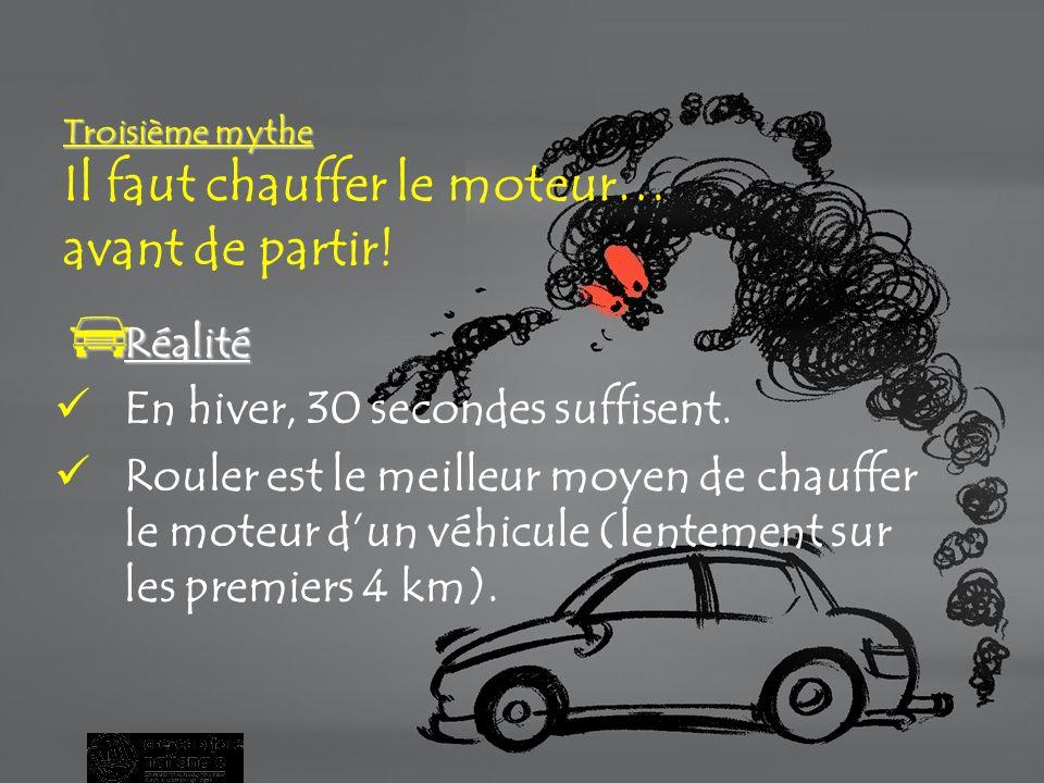 Deuxième mythe Deuxième mythe Arrêter et redémarrer un moteur lendommage et augmente la consommation dessence.