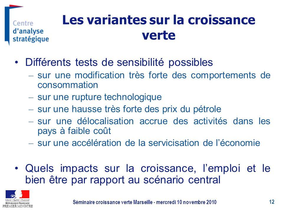 12 PREMIER MINISTRE Séminaire croissance verte Marseille - mercredi 10 novembre 2010 Les variantes sur la croissance verte Différents tests de sensibi