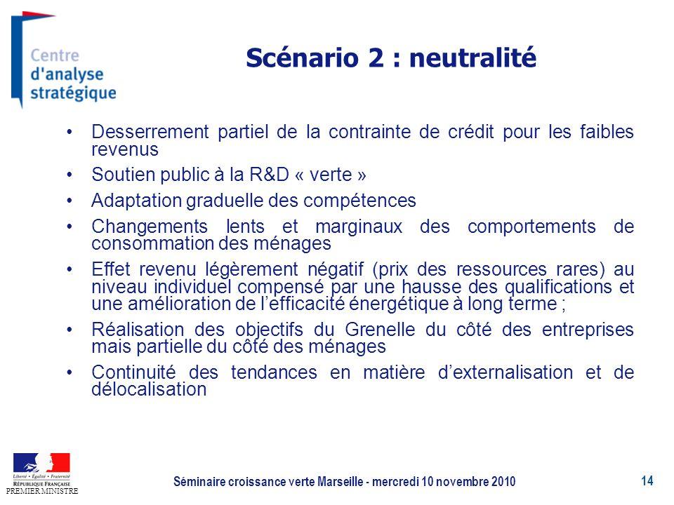 14 PREMIER MINISTRE Séminaire croissance verte Marseille - mercredi 10 novembre 2010 Scénario 2 : neutralité Desserrement partiel de la contrainte de