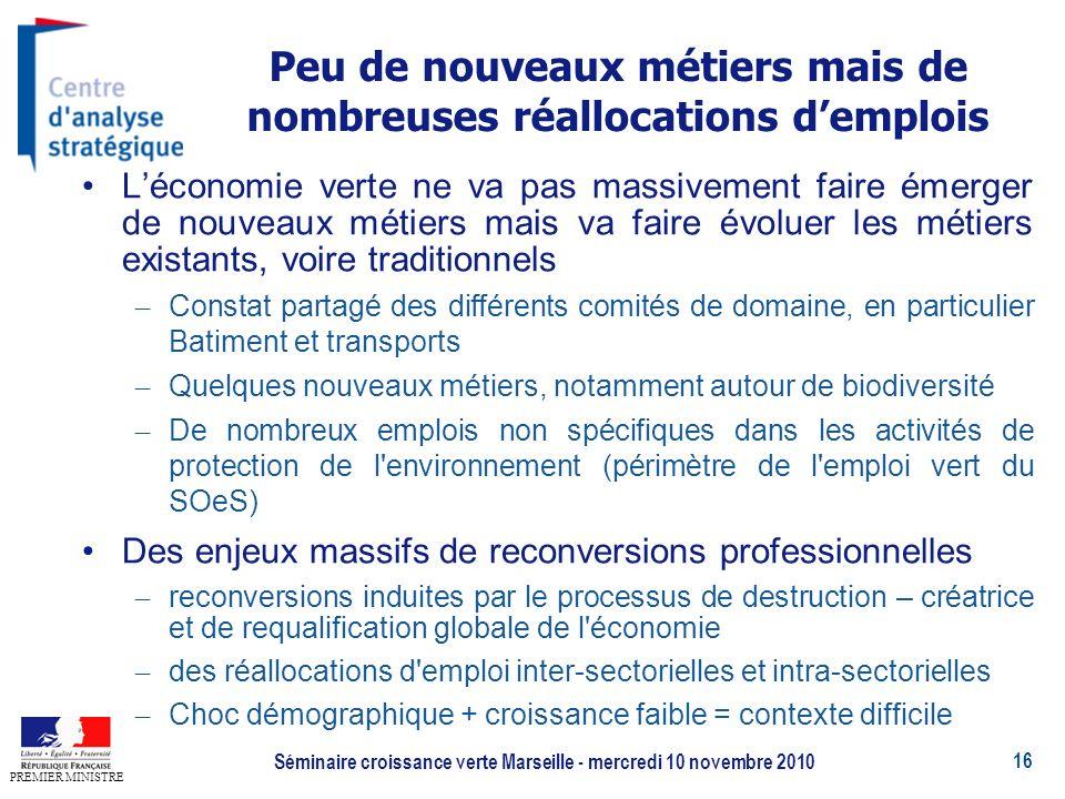 16 PREMIER MINISTRE Séminaire croissance verte Marseille - mercredi 10 novembre 2010 Peu de nouveaux métiers mais de nombreuses réallocations demplois