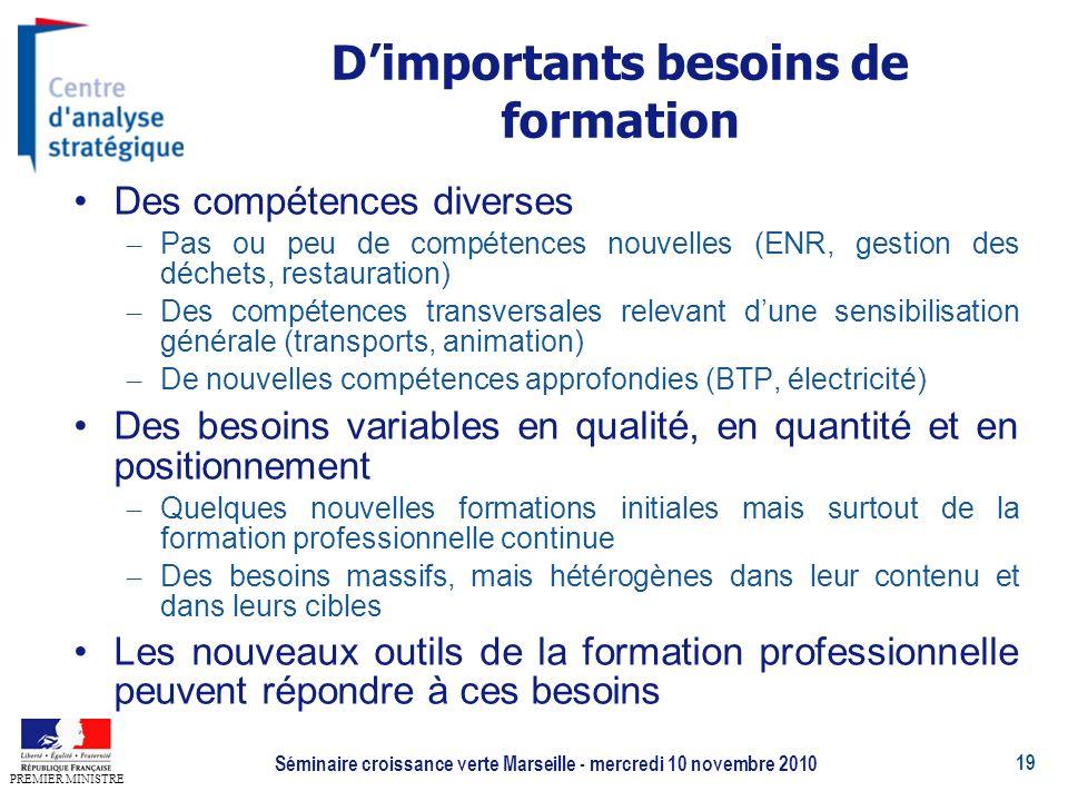 19 PREMIER MINISTRE Séminaire croissance verte Marseille - mercredi 10 novembre 2010 Dimportants besoins de formation Des compétences diverses – Pas o