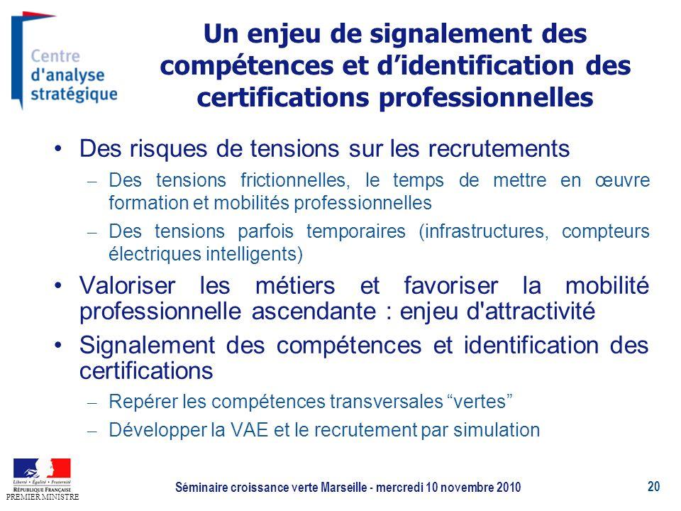 20 PREMIER MINISTRE Séminaire croissance verte Marseille - mercredi 10 novembre 2010 Un enjeu de signalement des compétences et didentification des ce