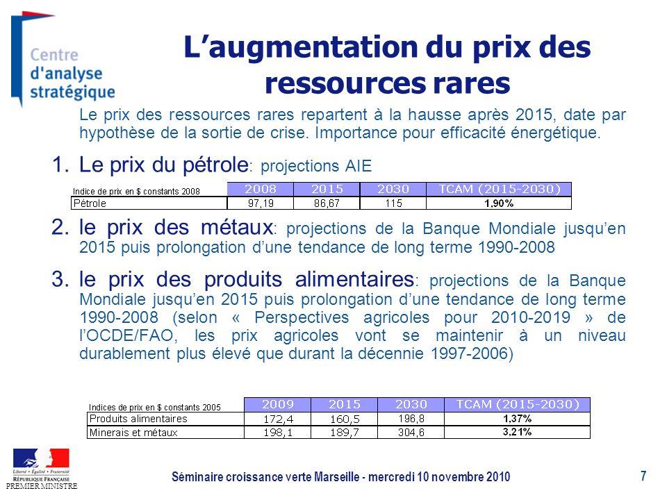 7 PREMIER MINISTRE Séminaire croissance verte Marseille - mercredi 10 novembre 2010 Laugmentation du prix des ressources rares Le prix des ressources rares repartent à la hausse après 2015, date par hypothèse de la sortie de crise.