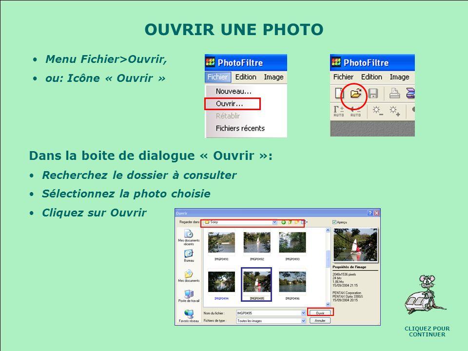 LECRAN DE PHOTOFILTRE Sélection de la tâche à effectuer Choix des couleurs Outils de retouche Outils de sélection CLIQUEZ POUR CONTINUER